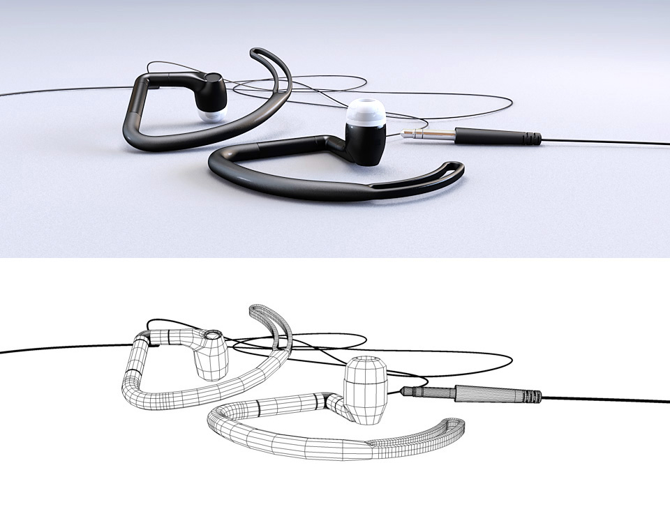 3D Earbuds Illustration