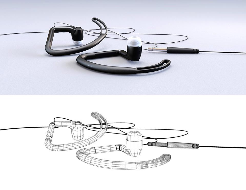 3D Earbuds Illustration